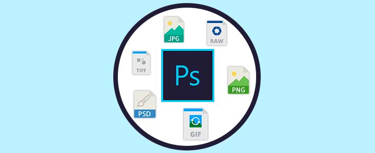 Archivos JPG, TIFF, PSD, PSB, RAW, PNG y GIF en PhotoShop.