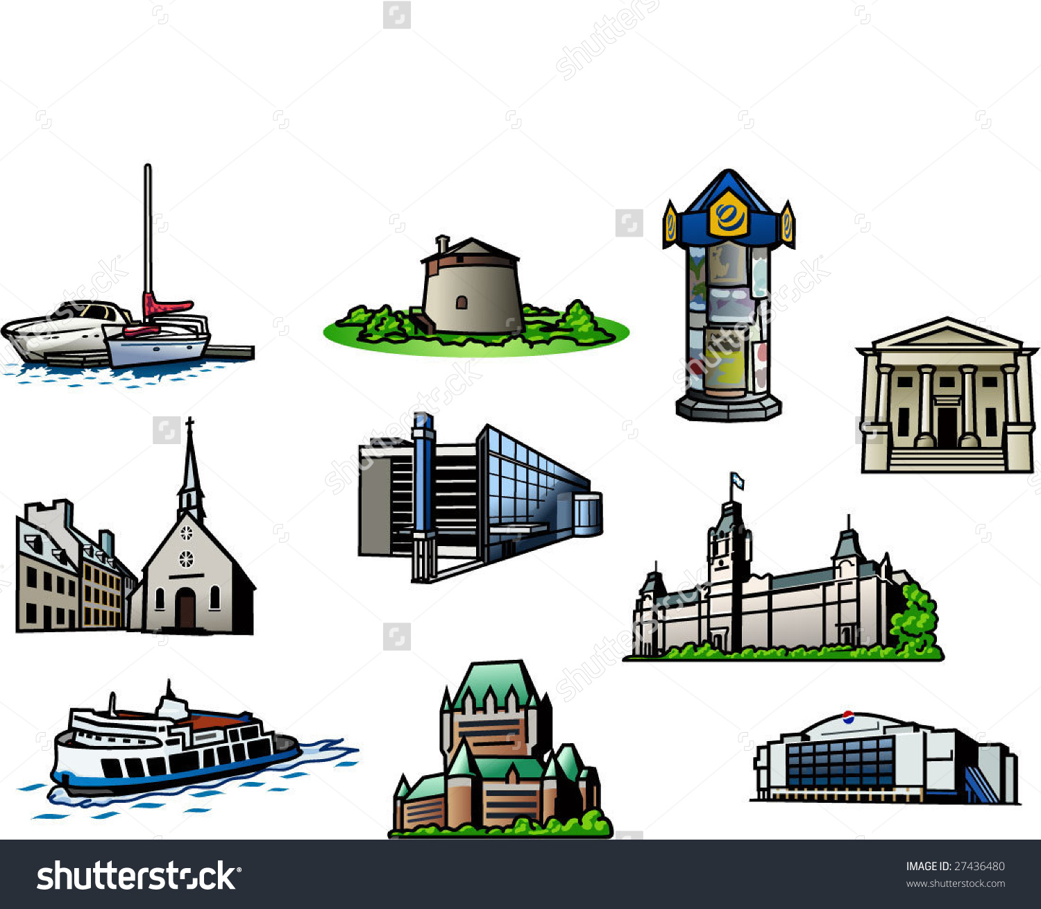 10 Quebec City Points Of Interrest Stock Vector Illustration.