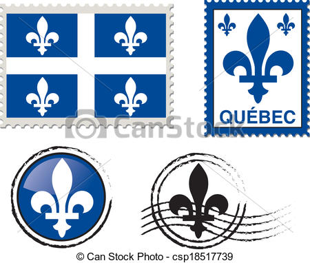 Vectors of Quebec stamp illustration.