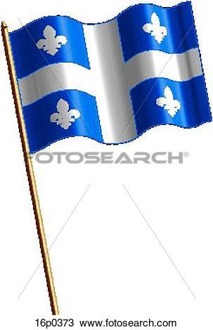 Clipart of Quebec Flag, waving 16p0373.