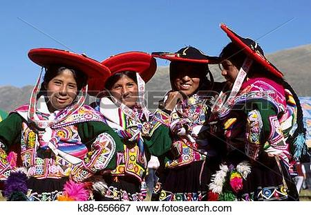 Picture of Quechua girls at Raqchi traditional dance festival.