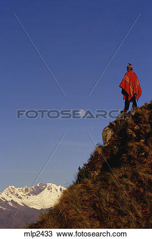 Stock Photo of Quechua indian on Runkuracay Pass, Inca Trail, Peru.