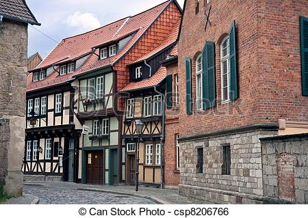 Stock Image of Cityview of medieval city Quedlinburg in Germany.