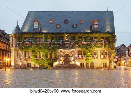 Stock Photography of Town Hall, Quedlinburg, Saxony.