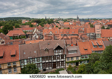 Stock Photography of Aerial view of Quedlinburg, a medieval city.