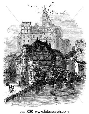 Stock Illustrations of Quedlinburg Castle, Germany castl080.