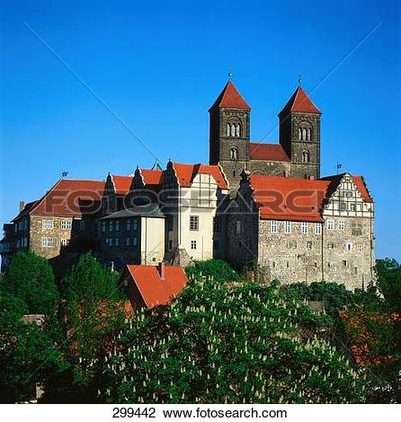 Stock Photo of Cathedral against clear blue sky, Quedlinburg.