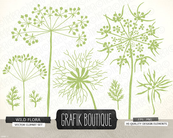 Wild herbs flowers silhouette vector clip art by GrafikBoutique.