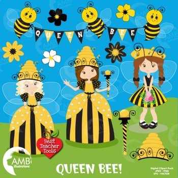 Queen Bumble Bee Clipart, Bee clipart, AMB.