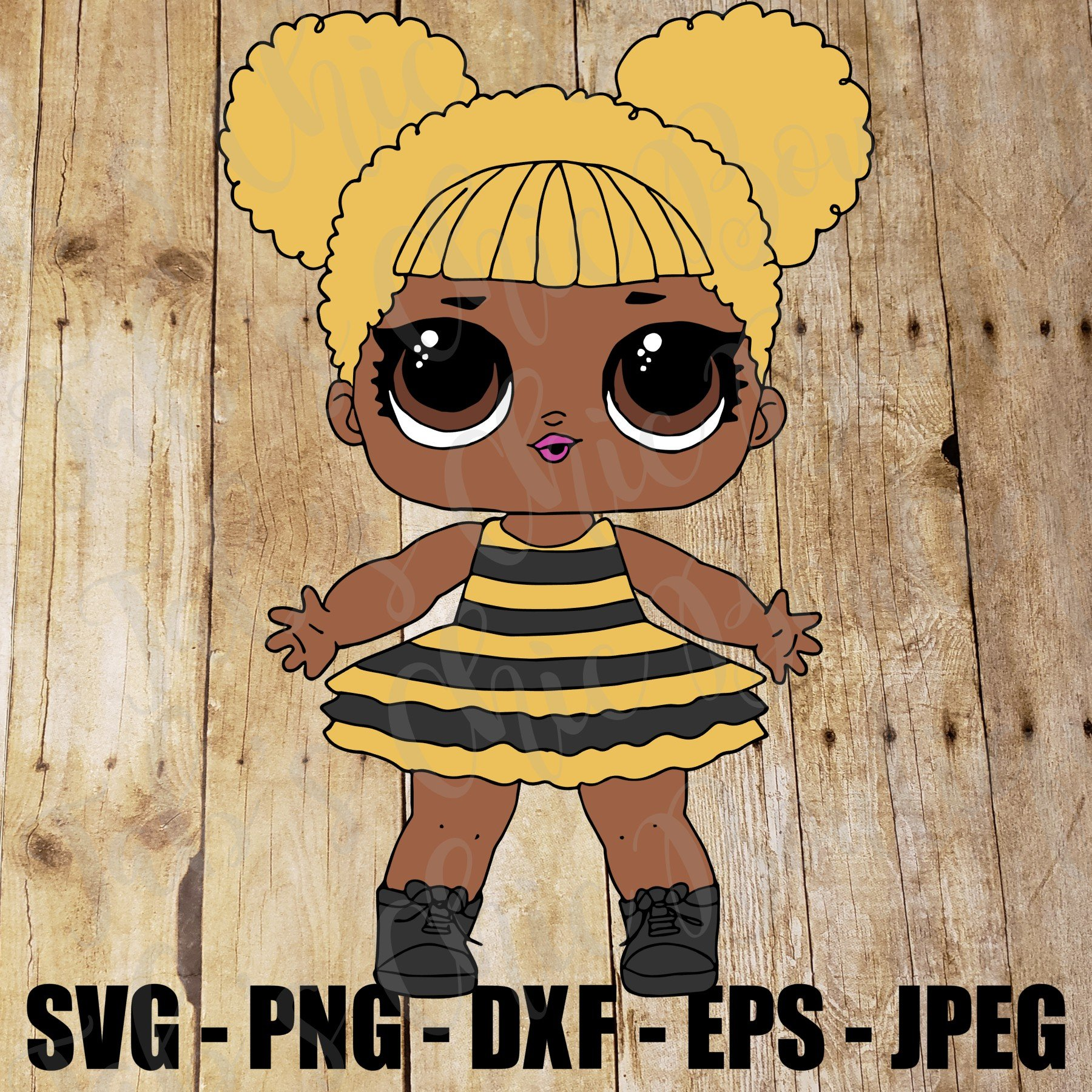 BumbleBee Queen Bee Surprise L.O.L. Doll SVG JPEG High Def DXF PNG EPS  Sublimation Design File.