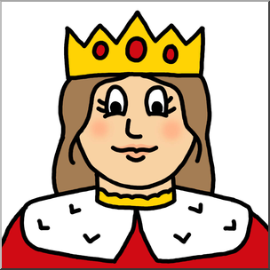 Clip Art: Cartoon Faces: Queen Color 1 I abcteach.com.