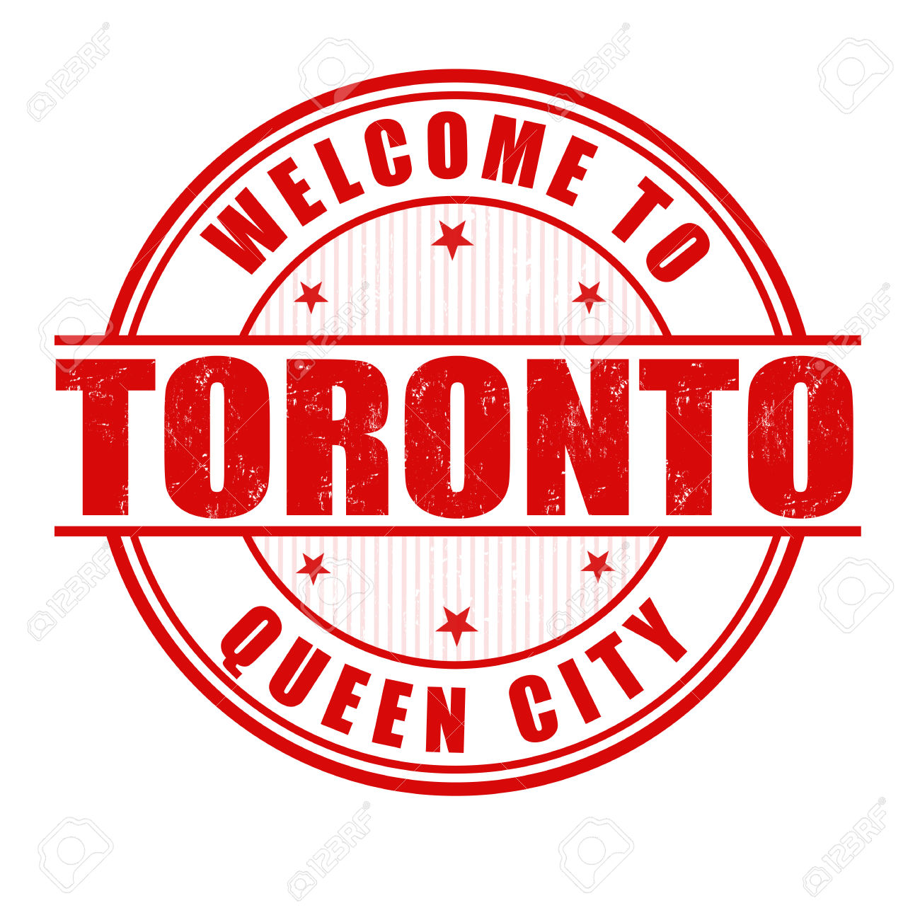 Welcome To Toronto, Queen City Grunge Rubber Stamp On White.