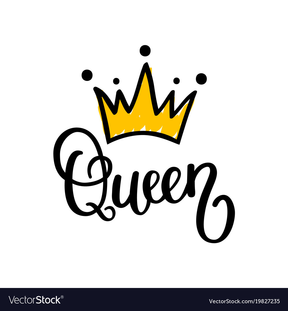 Queen crown calligraphy design.