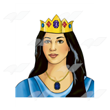 Queen Esther, with jeweled crown.