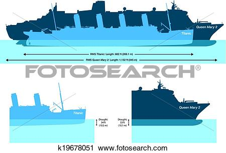 Clipart of Titanic And Queen Mary 2 k19678051.