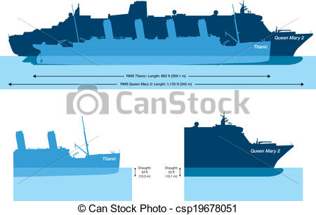 Clipart Vector of Titanic And Queen Mary 2.