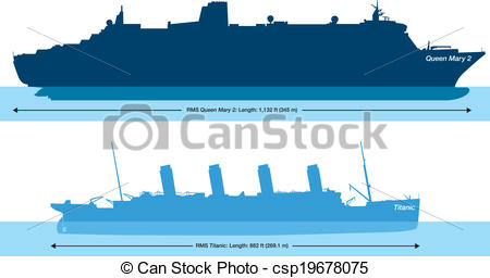 Vectors Illustration of Titanic And Queen Mary 2.