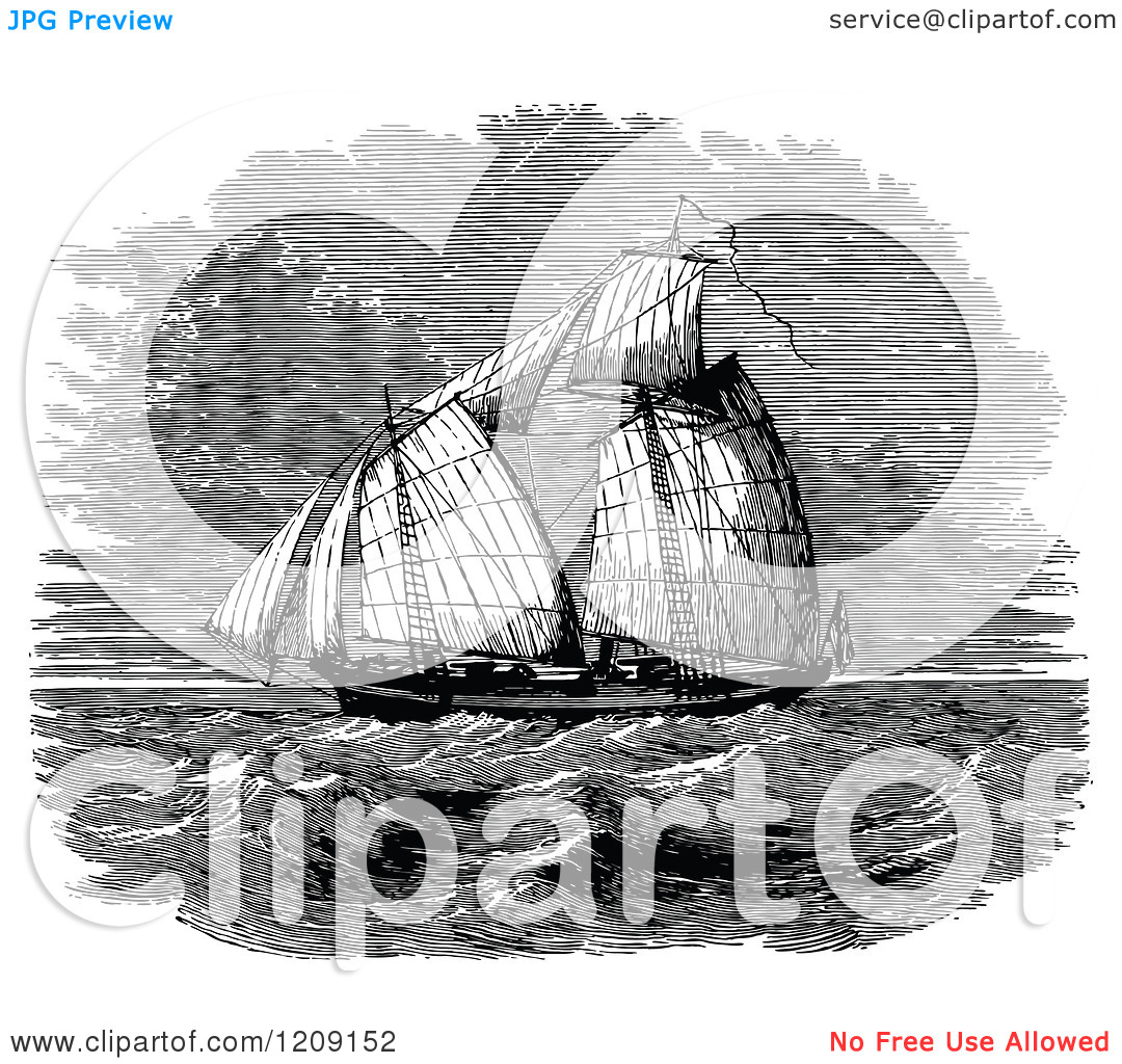 Clipart of Vintage Black and White the Queen Mary Ship.