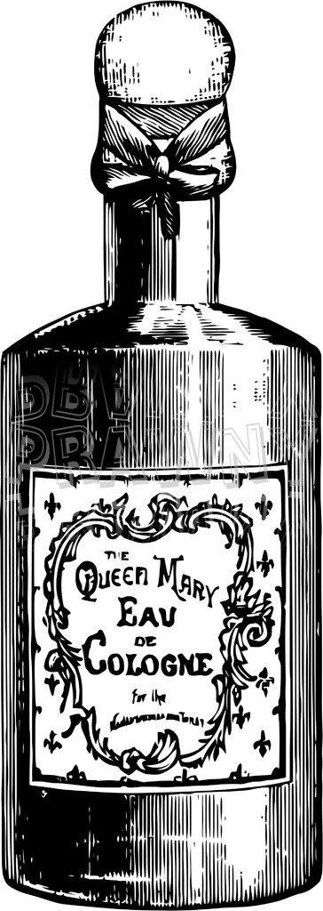 Queen Mary Cologne Vintage Black and White Clip Art Bottle.