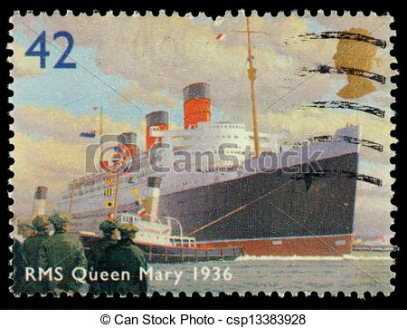 Stock Photo of Britain RMS Queen Mary Postage Stamp.