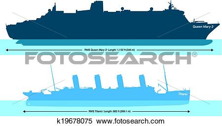 Clipart of Titanic And Queen Mary 2 k19678075.