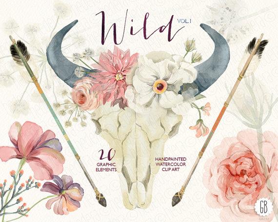 Watercolor Floral Bull Skull, Peony, Juliet Roses, Dahlia, Arrows.