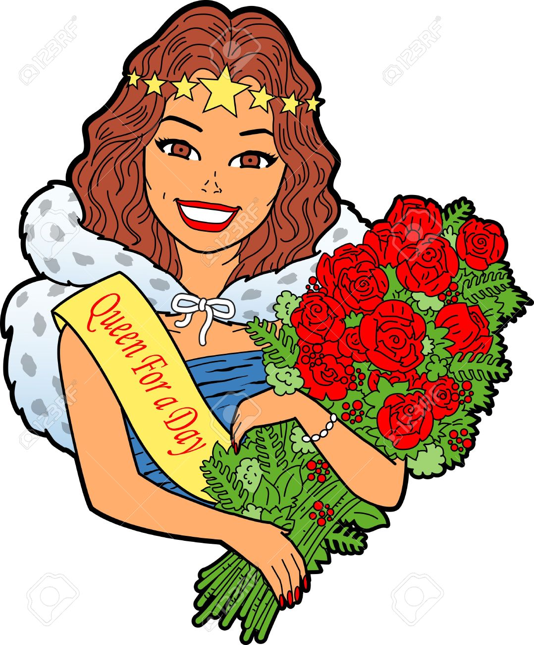 Woman With Bouquet Of Flowers Royalty Free Cliparts, Vectors, And.