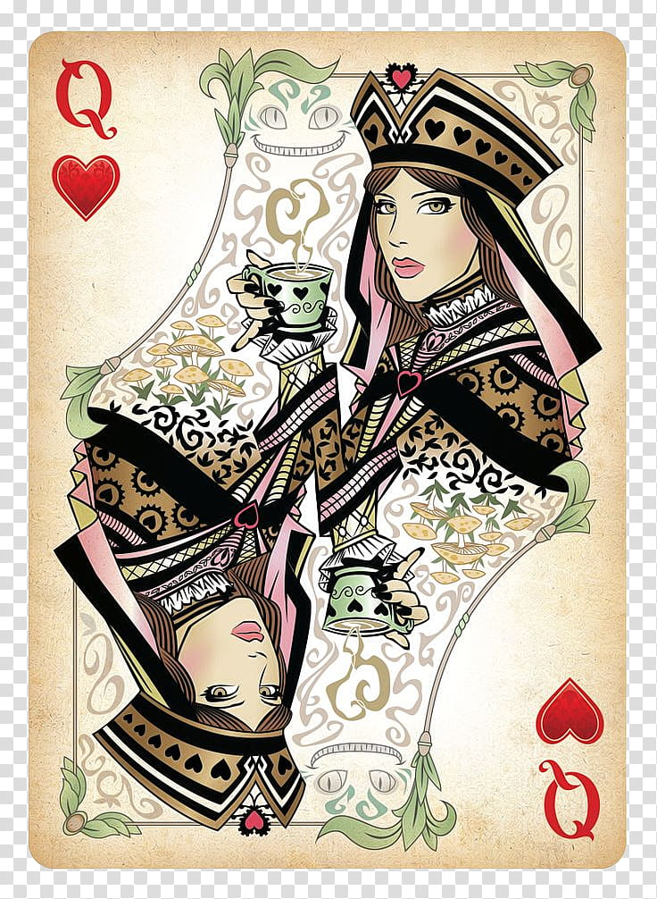 Playing Cards, Queen Of Hearts card transparent background.