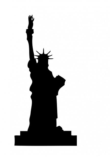 Free illustration: Statue Liberty, Black, Silhouette.