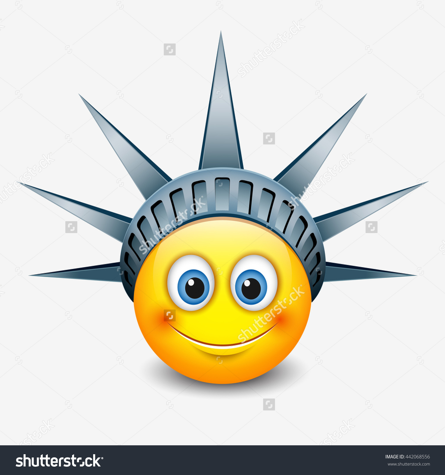 Cute Emoticon Wearing Statue Liberty Crown Stock Vector 442068556.