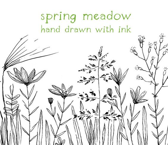 Digital Clipart, Doodle Clipart, Meadow, Flowers, Hand Drawn.