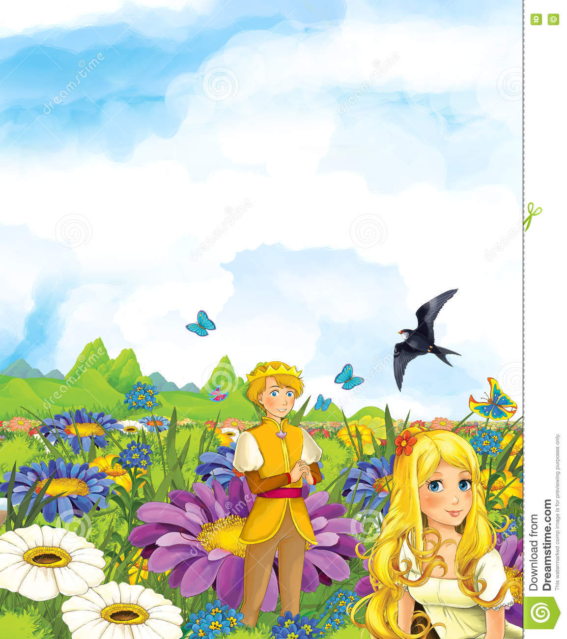 Cartoon Scene Of Fairy Prince And Princes Or King And Queen And A.