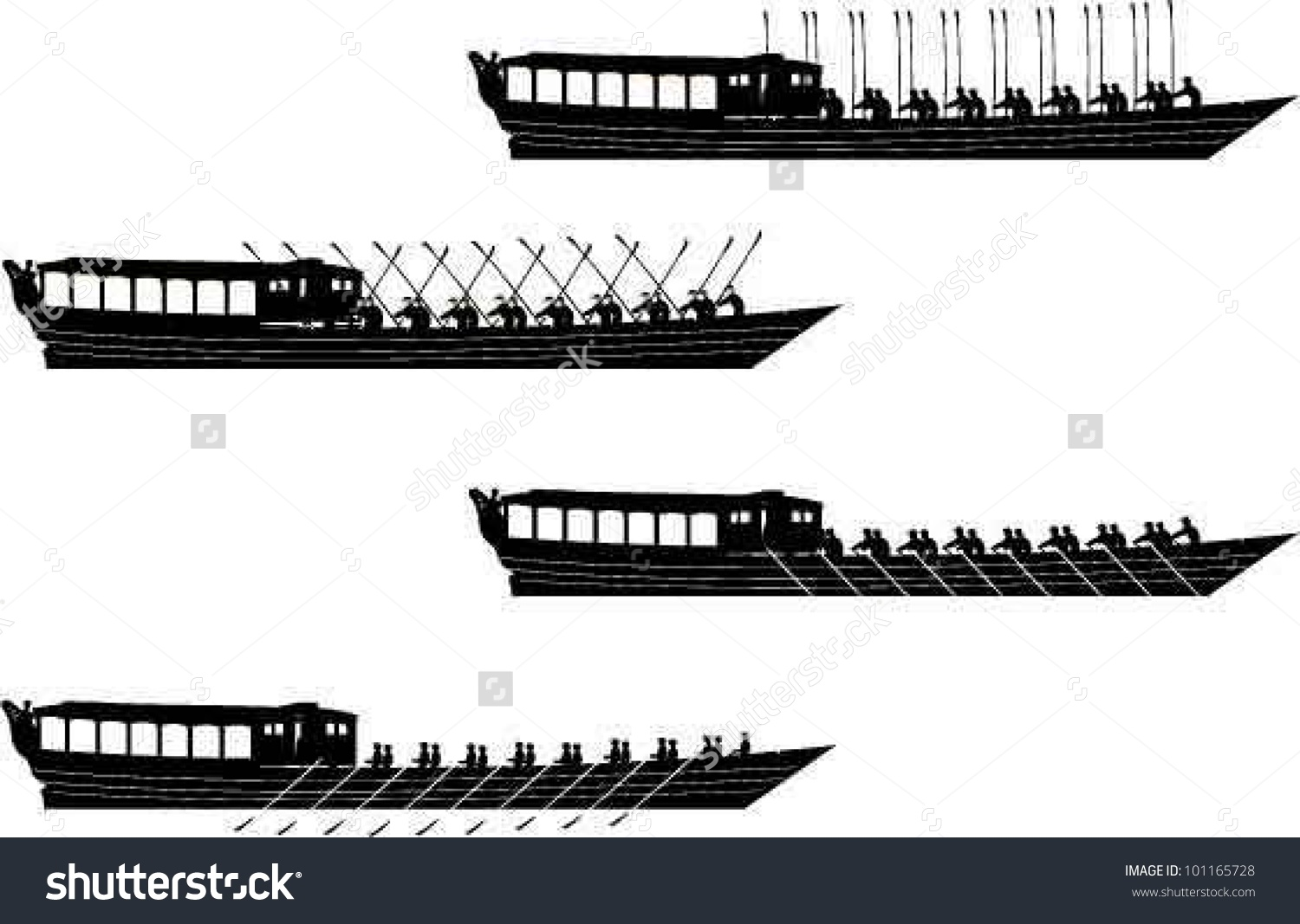 Queens Diamond Jubilee Barge Silhouettes Stock Vector Illustration.