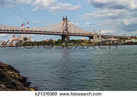 Stock Photograph of Queensboro Bridge and Power Plant k21376369.