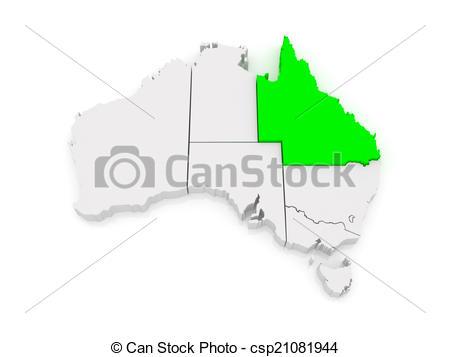 Drawing of Map of Queensland. Australia. 3d csp21081944.