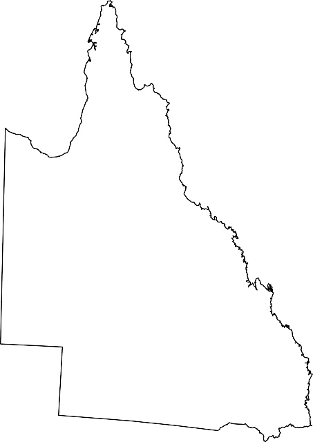 AUSTRALIA, MAP, GEOGRAPHY, OUTLINE, QUEENSLAND, STATE.