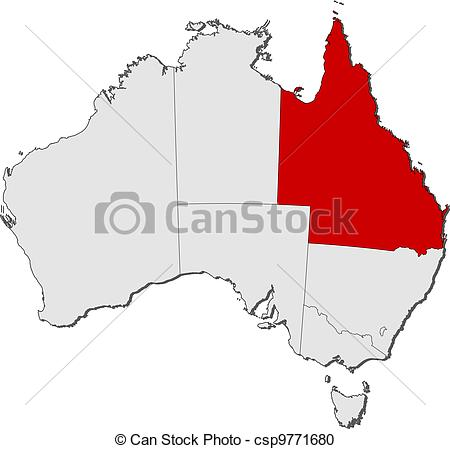 Vector Clipart of Map of Australia, Queensland highlighted.