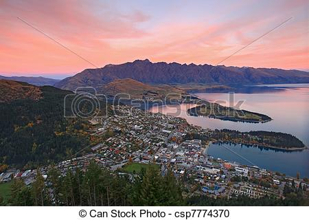 Stock Photography of landscape of queenstown region in dusk , New.