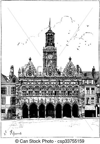 Clipart Vector of The town hall of Saint.
