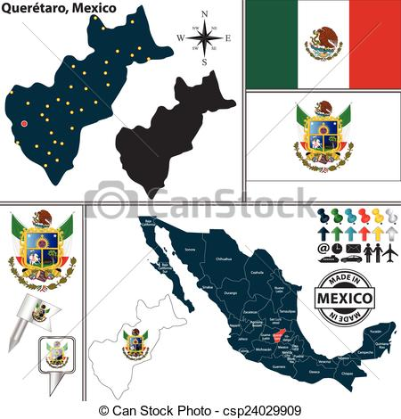 Vector Clipart of Map of Queretaro, Mexico.