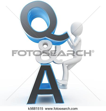 Clipart of 3d man with question and answer sign k5695611.