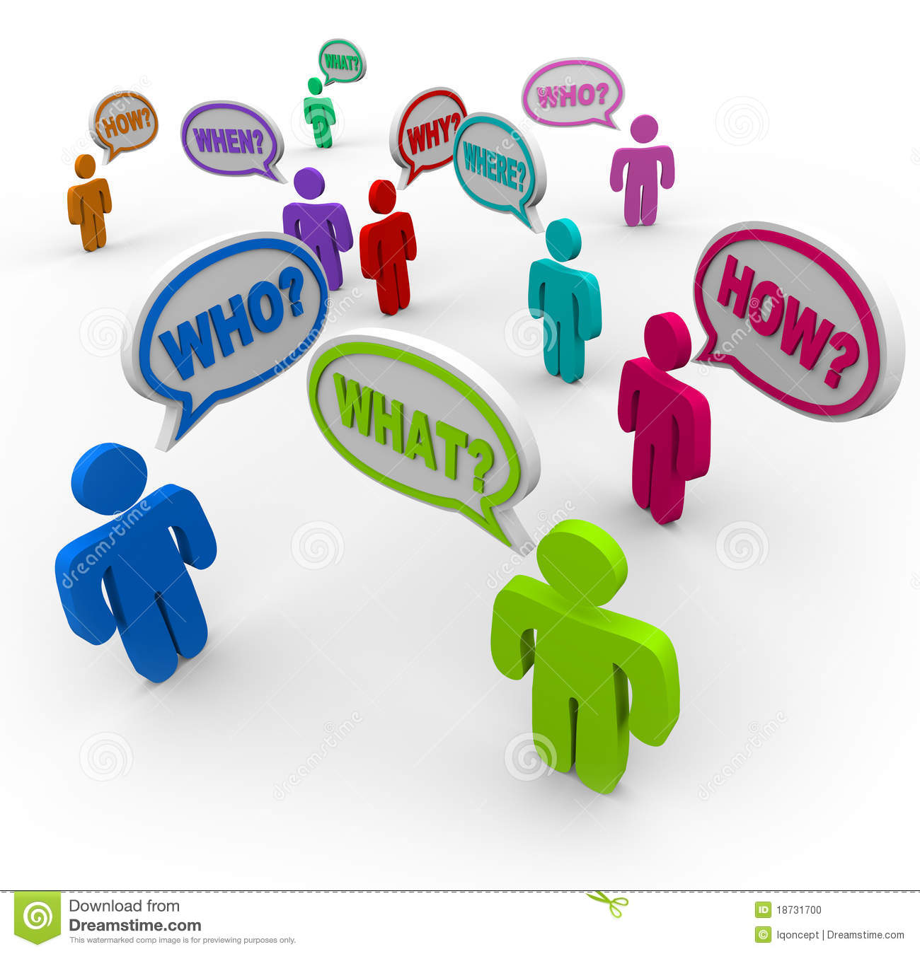 People Asking Questions In Speech Bubbles Stock Photo.