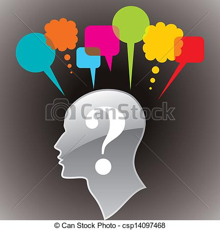 Clip Art Vector of human head with questionmark symbol.