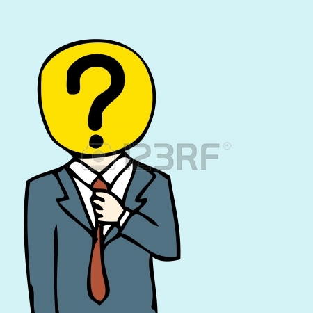 Illustration Of Hand Drawn Businessman With Question Mark Head.