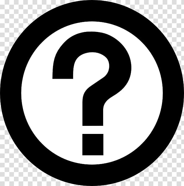 Black and white question mark inside circle logo, Question.