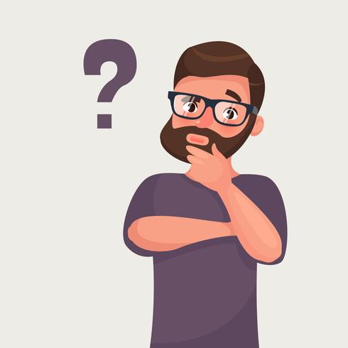 Thinking man with question mark.