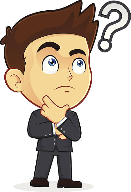 Question Mark Hand On Chin Asking Thinking Clip Art, Vector Images.