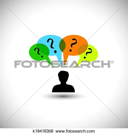 Clip Art of concept vector people thinking.