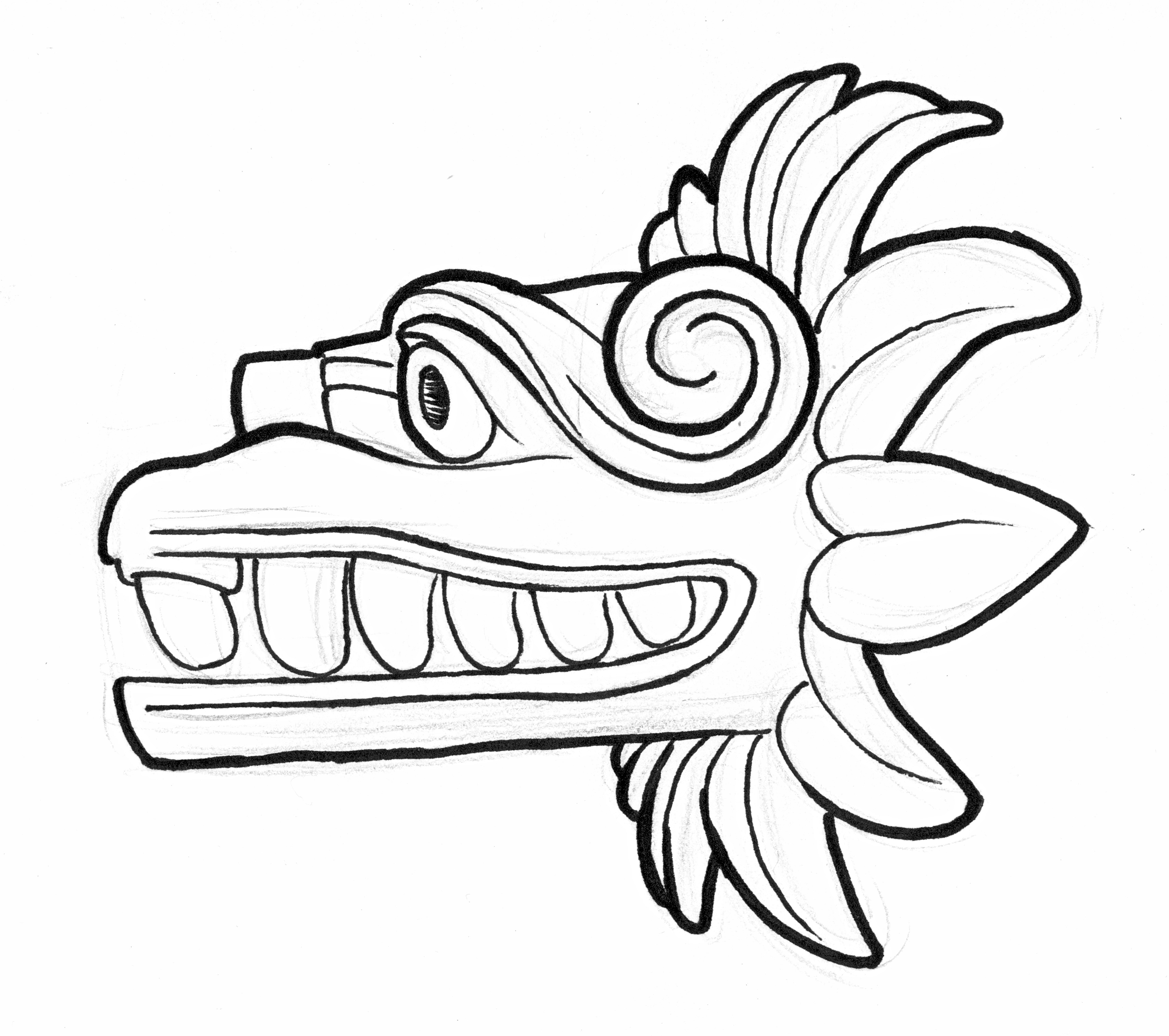 Related Keywords & Suggestions for Quetzalcoatl Aztec Drawing.