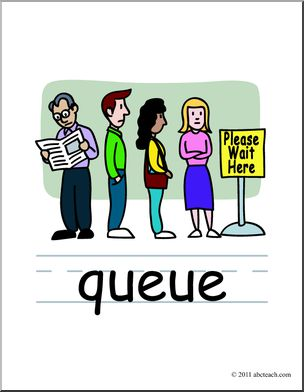 Clip Art: Basic Words: Queue Color Labeled.